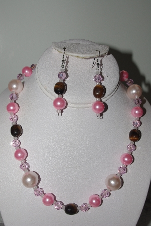 "MBAMG #019-145  ""One Of A Kind Pink Bead & Tiger Eye Necklace & Earring Set"""