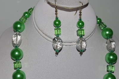 "MBAMG #019-133  ""One Of A Kind Green Bead & Crystal Quartz Necklace & Earring Set"""