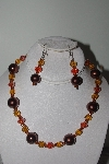 "MBAMG #019-223  ""One Of A Kind Brown,Orange & Gold Bead Necklace & Earring Set"""