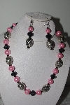 "MBAMG #019-163  ""One Of A Kind Pink & Black Bead Necklace & Earring Set"""