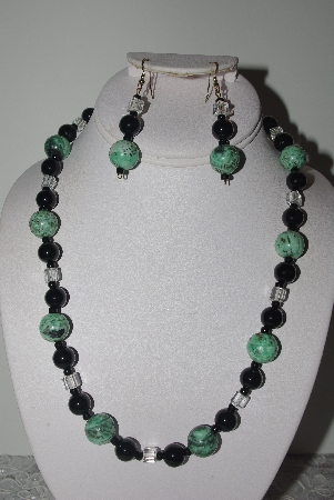 "MBAMG #019-219  ""One Of A Kind Green Turquoise Black Onyx & Crystal Bead Necklace & Earring Set"""