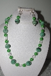 "MBAMG #019-214  ""One Of A Kind Gren Turquoise,Pearl & Crystal Bead Necklace & Earring Set"""