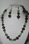 "MBAMG #019-235  ""One Of a Kind Brown,Green & German Silver Bead Necklace & Earring Set"""