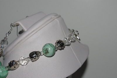 "MBAMG #019-230  ""One Of A Kind Green Turquoise ,Crystal Quartz & German Silver Bead Necklace & Earring Set"""