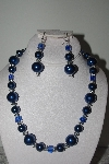 "MBAMG #019-187  ""One Of A Kind Blue Bead Necklace & Earring Set"""
