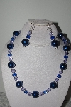 "MBAMG #019-128  ""One Of A Kind Blue & Lavender Bead Necklace & Earring Set"""
