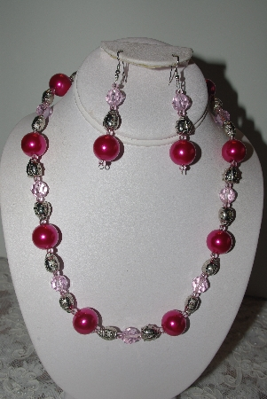 "MBAMG #019-123  ""One Of A Kind Pink Bead & Lady Bug Bead Necklace & Earring Set"""