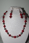 "MBAMG #019-182  ""One Of A Kind Red & Silver Bead Necklace & Earring Set"""