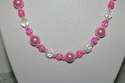 "MBAMG #019-177  ""One Of A Kind Pink Bead Necklace & Earring Set"""