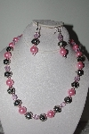 "MBAMG #019-250  ""One Of A Kind Pink Bead Necklace & Earring Set"""
