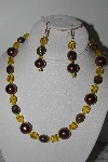 "MBAMG #019-240  ""One Of A Kind Brown,Yellow & Tiger Eye Bead Necklace & Earring Set"""