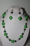 "MBAMG #019-203  ""One Of A Kind Green Bead Necklace & Earring Set"""