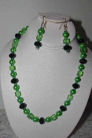 "MBAMG #019-208  ""One Of A Kind Green & Black Bead Necklace & Earring Set"""