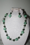 "MBAMG #019-199  ""One Of A Kind Green Turquoise Bead Necklace & Earring Set"""