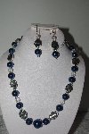 "MBAMG #019-191  ""One Of A Kind Blue & Clear Bead Necklace & Earring Set"""