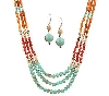 "MBAMG #T06-214   ""Garold Miller Multi Color  Triple Strand Acrylic Bead Necklace & Earring Set"""