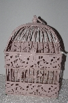 "**MBAMG #T0-037  ""Fancy Dragonfly & Butterfly Pink Metal Birdcage"""