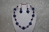 "+MBAHB #24-008  ""One Of A Kind Blue & Pink Bead Necklace & Earring Set"""