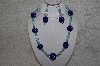 "+MBAHB #24-013  ""One Of A Kind Blue & Clear Bead Necklace & Earring Set"""