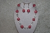 "+MBAHB #24-038  ""One Of A Kind Pink, Clear & White Howlite Gemstone Bead Necklace & Earring Set"""