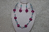 "+MBAHB #24-043  ""One Of A Kind Pink Bead & Blue Magnesite Gemstone Bead Necklace & Earring Set"""