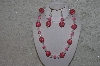 "+MBAHB #24-063  ""One Of A Kind Pink & Clear Bead Necklace & Earring Set"""