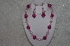 "+MBAHB #24-073  ""One Of A Kind Pink Bead Necklace & Earring Set"""