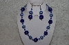 "+MBAHB #24-088  ""One Of A Kind Blue & Clear Bead Necklace & Earring Set"""