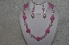 "+MBAHB #24-093  ""One Of A Kind Pink Bead Necklace & Earring Set"""