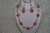 "+MBAHB #24-108  ""One Of A Kind Pink Bead Necklace & Earring Set"""