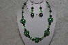 "+MBAHB #24-118  ""One OF A Kind Green Bead Necklace & Earring Set"""