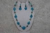 "+MBAHB #24-234  ""One Of A Kind Blue Bead & German Silver Bead Necklace & Earring Set"""