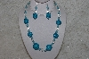 "+MBAHB #24-217  ""One Of A Kind Clear & Blue Bead Necklace & Earring Set"""