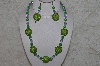 "+MBAHB #24-207  ""One Of A Kind Lavender & Green Bead Necklace & Earring Set"""