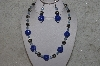 "+MBAHB #24-202  ""One Of A Kind Blue Bead & German Silver Bead Necklace & Earring Set"""