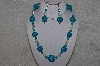 "+MBAHB #24-188  ""One Of A Kind Clear & Blue Bead Necklace & Earring Set"""