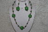 "+MBAHB #24-183  ""One Of A Kind Green & Pink Bead Necklace & Earring Set"""