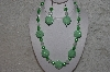 "+MBAHB #24-178  ""One Of A Kind Green & Clear Bead Necklace & Earring Set"""