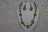 "+MBAHB #24-173  ""One Of A Kind Green & Purple Bead Necklace & Earring Set"""