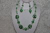 "+MBAHB #24-158  ""One Of A Kind Green & Clear Bead Necklace & Earring Set"""