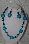 "+MBAHB #24-141  ""One Of A Kind Blue Bead Necklace & Earring Set"""