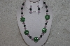 "+MBAHB #24-136  ""One Of A Kind Green, Pink & Jade Necklace & Earring Set"""