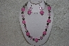 "+MBAHB #24-123  ""One Of A Kind Pink Bead & German Silver Bead Necklace & Earring Set"""