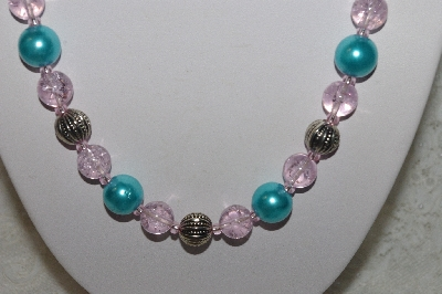 "MBAHB #24-197  ""One Of A Kind Blue,Pink & German Silver Bead Necklace & Earring Set"""