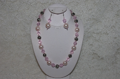 "MBAHB #24-153  ""One Of A Kind Pink Bead & German Silver Necklace & Earring Set"""