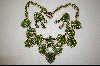 ** Vintage Look Green Austrian Crystal Necklace W/Matching Earrings