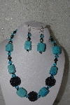 "+MBAHB #31-002  ""One Of A Kind Blue/Green Chalk Turquoise & Black Bead Necklace & Earring Set"""
