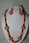 "+MBAHB #31-013  ""One Of A Kind Orange & Black Bead Necklace & Earring Set"""