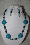 "+MBAHB #31-019  ""One Of A Kind Blue & Black Glass Bead Necklace & Earring Set"""