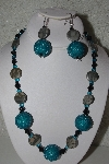 "+MBAHB #31-045  ""One Of A Kind Blue, Grey & Black Bead Necklace & Earring Set"""